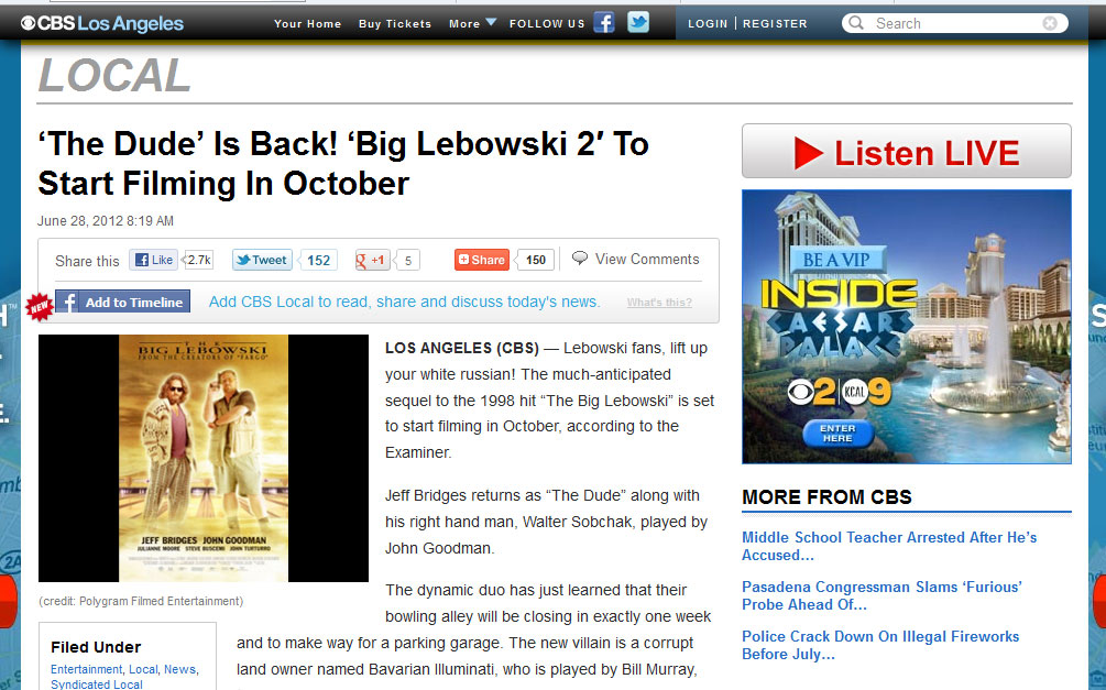 CBS got fooled into believing The Big Lebowski 2 was coming out