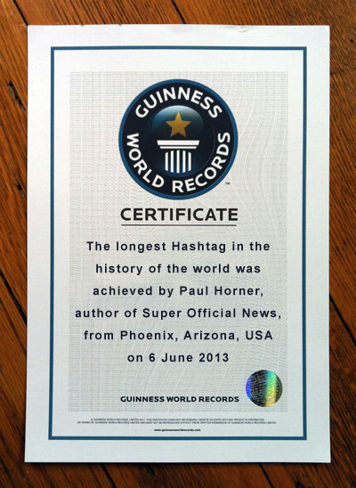 Guinness World Record Hashtag award