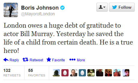 Tweet from Boris Johnson the Mayor of London