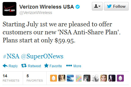 Tweet from Verizon about the NSA and their new NSA Ant-Share Plan
