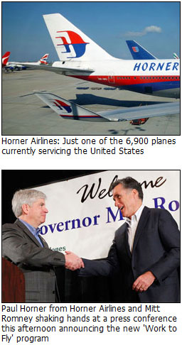 Horner Airlines teams up and Mitt Romney for Work to Fly