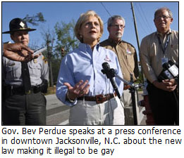 Bev Perdue talking about making gay illegal in North Carolina