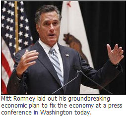 Mitt Romney laid out his groundbreaking economic plan to fix the economy at a press conference today in Washington.