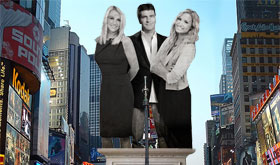 'The X Factor' 43-Story Tall Marble Statue Unveiled In Times Square