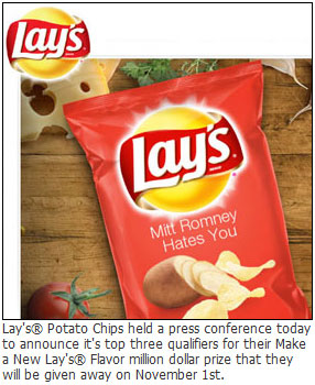 Lay's® Potato Chips held a press conference today to announce it's top three qualifiers for their Make a New Lay's® Flavor million dollar prize that they will be given away on November 1st.
