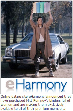 eHarmony buys Mitt Romney's binders full of women