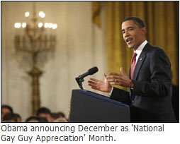 Obama announcing December as 'National  Gay Guy Appreciation' Month