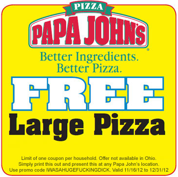 Papa John's Free Large Pizza Coupon