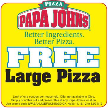 Papa John's Free Large Pizza Coupon