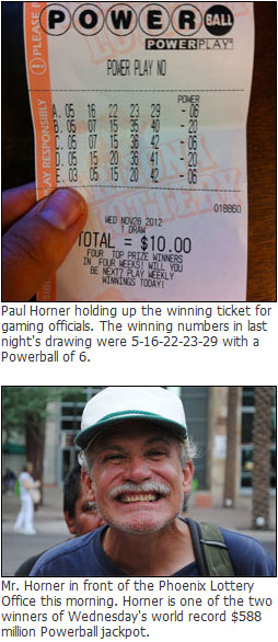 Paul Horner from Arizona is the world record Powerball $588 million winner.
