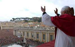Pope Benedict XVI addressed an emotional crowd of well-wishers from around the world at St. Peter's Square today, where he he announced news of the newly elected pontiff.