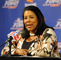 WNBA president Laurel J. Richie speaking to reporters