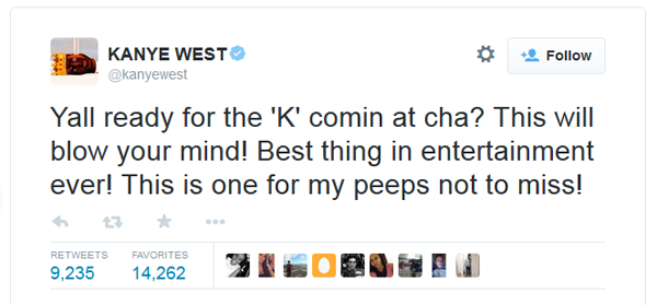 Kanye West tweet about the awards show called the 'K'